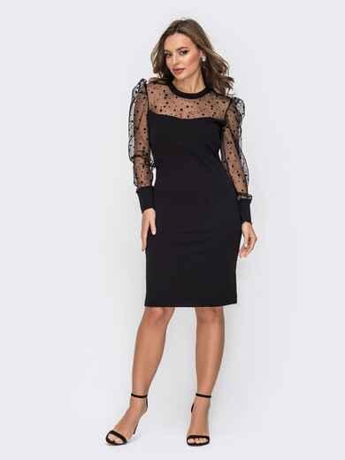 Приталенное платье с рукавами из сетки в горох черное 52145, фото 1