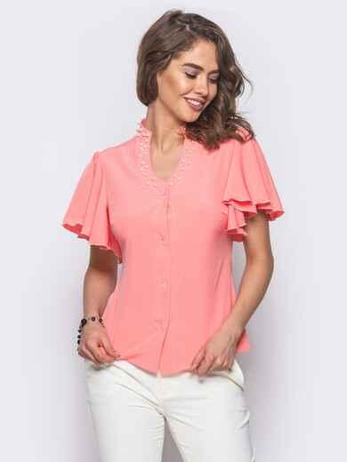 Розовая блузка с V-образной горловиной и рукавом-крылышко - 10088, фото 1 – интернет-магазин Dressa