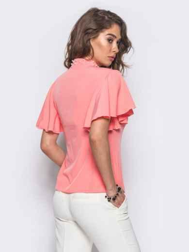 Розовая блузка с V-образной горловиной и рукавом-крылышко - 10088, фото 2 – интернет-магазин Dressa