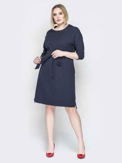 Синее платье прямого кроя с кулиской на талии - 20213, фото 1 – интернет-магазин Dressa