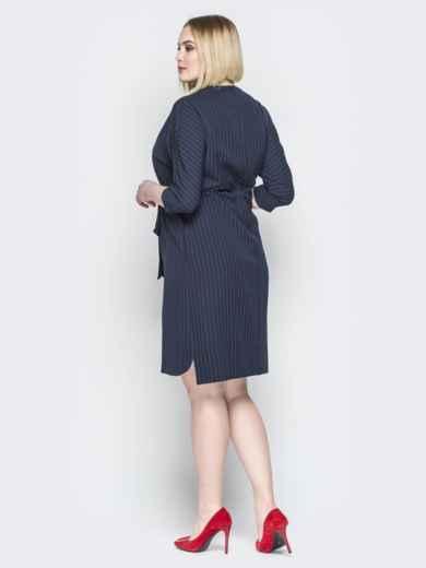 Синее платье прямого кроя с кулиской на талии - 20213, фото 3 – интернет-магазин Dressa