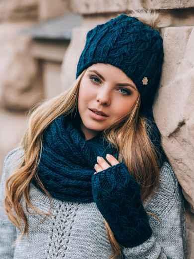 Тёмно-синий комплект с перчатками и помпоном на шапке - 14885, фото 2 – интернет-магазин Dressa