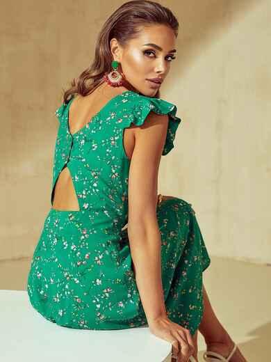 Зелене плаття з оригінальним вирізом по спинці 54032, фото 1