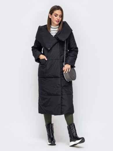 Зимняя куртка со вшитым капюшоном и вязанными манжетами чёрная - 41248, фото 2 – интернет-магазин Dressa