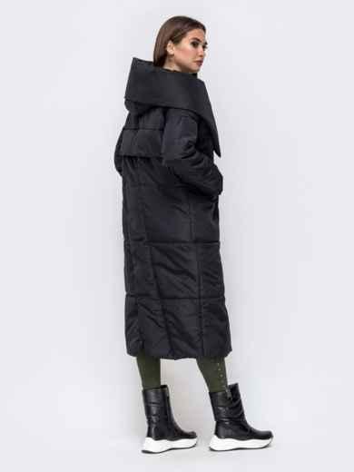 Зимняя куртка со вшитым капюшоном и вязанными манжетами чёрная - 41248, фото 3 – интернет-магазин Dressa