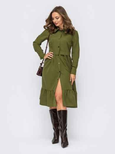 Зелёное платье-рубашка на кнопках и с воротником 55268, фото 1