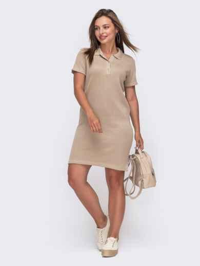 Бежевое платье-футболка из хлопка с отложным воротником 49614, фото 1