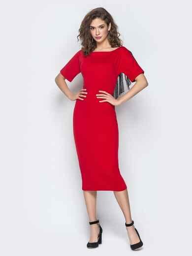 Красное платье с бахромой и ложным запахом по спинке 18605, фото 1
