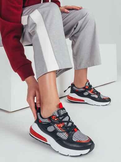Кроссовки с контрастными вставками чёрные 50690, фото 1