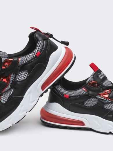 Кроссовки с контрастными вставками чёрные 50690, фото 4