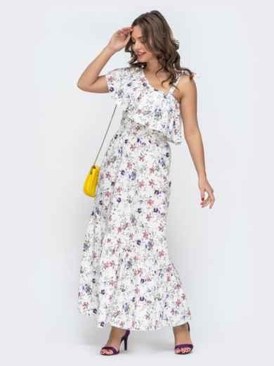 Платье с принтом и открытым плечом белое 46867, фото 2