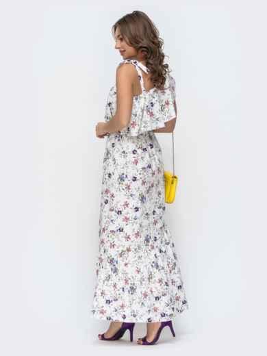 Платье с принтом и открытым плечом белое 46867, фото 3
