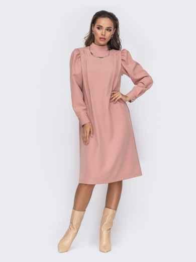 Платье-трапеция с буфами на рукавах розовое 50771, фото 2