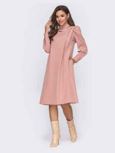 Платье-трапеция с буфами на рукавах розовое 50771, фото 3
