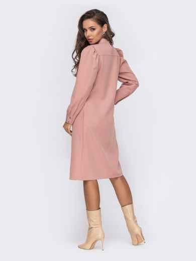 Платье-трапеция с буфами на рукавах розовое 50771, фото 4