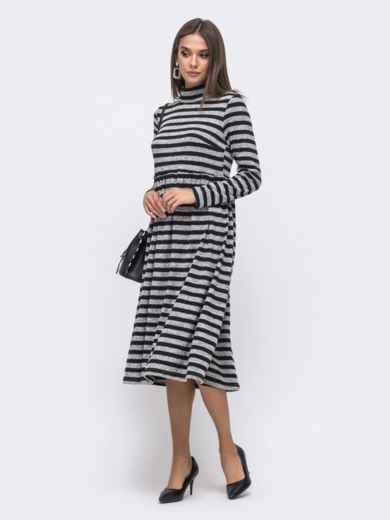 Приталенное платье в полоску с воротником-стойкой юбкой черное 40369, фото 2