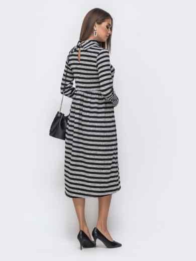 Приталенное платье в полоску с воротником-стойкой юбкой черное 40369, фото 3