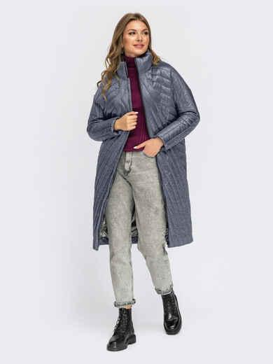 Серая стеганая зимняя куртка с воротником-стойкой 55542, фото 1