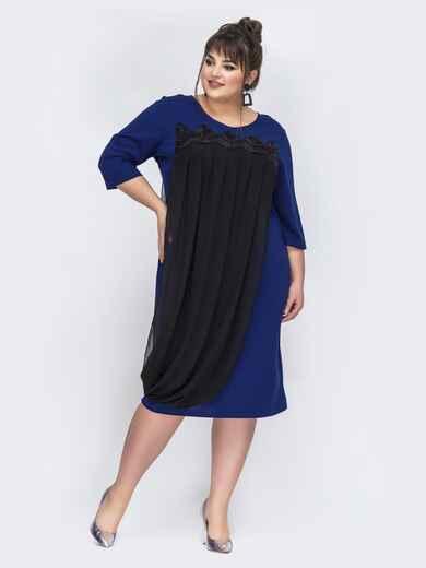 Синее платье большого размера с шифоном 44025, фото 1