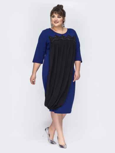 Синее платье большого размера с шифоном 44025, фото 2