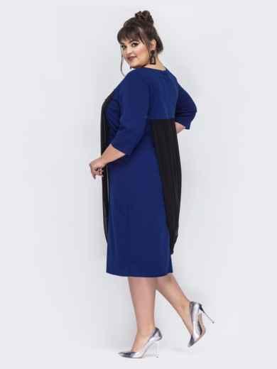 Синее платье большого размера с шифоном 44025, фото 3