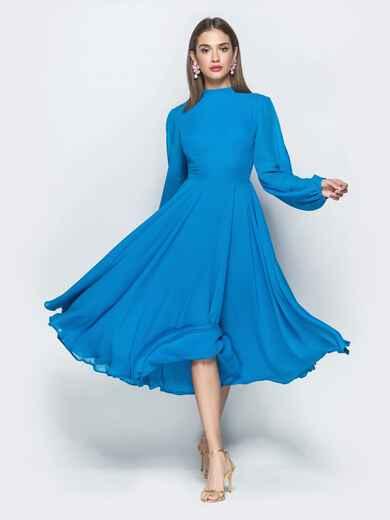 Синее платье из шифона с открытой спиной и юбкой-солнце 39392, фото 1