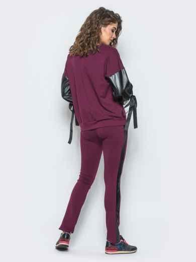 Спортивный костюм со вставками из эко-кожи - 11998, фото 3 – интернет-магазин Dressa