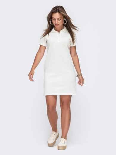 Вязаное платье-футболка с отложным воротником белое 49615, фото 1
