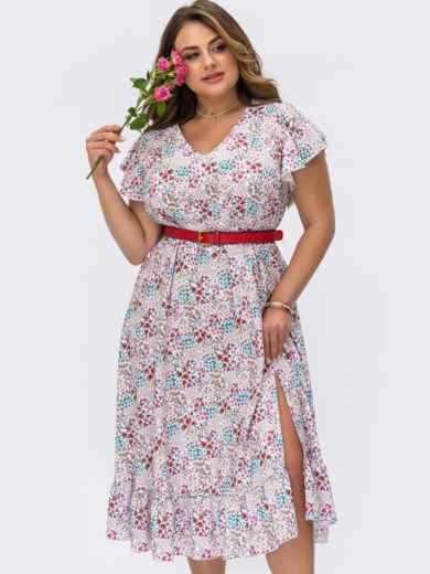 Белое платье батал в цветочный принт с разрезом на ноге 54481, фото 1