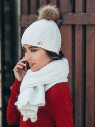 Белый комплект из шапки и шарфа-палантина - 14939, фото 2 – интернет-магазин Dressa