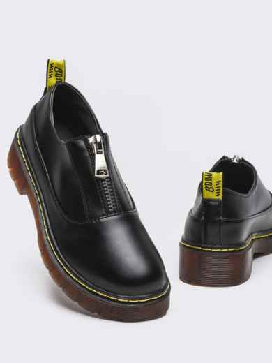 Черные туфли из искусственной кожи на массивной подошве 50594, фото 2