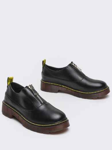 Черные туфли из искусственной кожи на массивной подошве 50594, фото 3