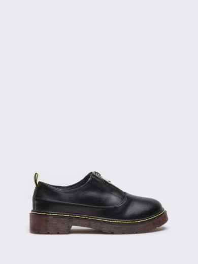 Черные туфли из искусственной кожи на массивной подошве 50594, фото 4