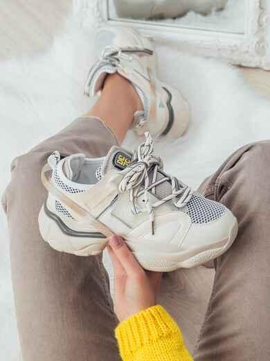 Кроссовки из искусственного материала бежевые 50596, фото 1
