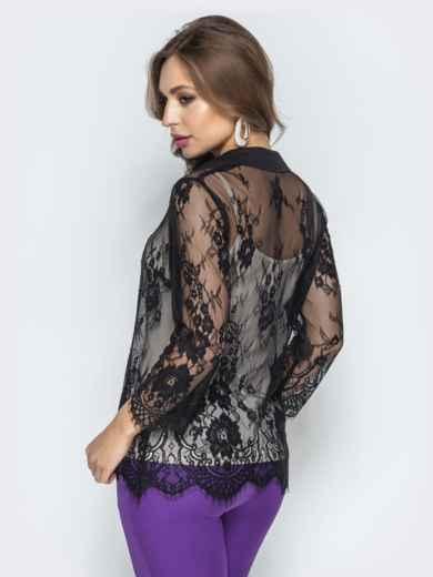 Кружевная блузка с топом из микромасла чёрная - 22200, фото 2 – интернет-магазин Dressa