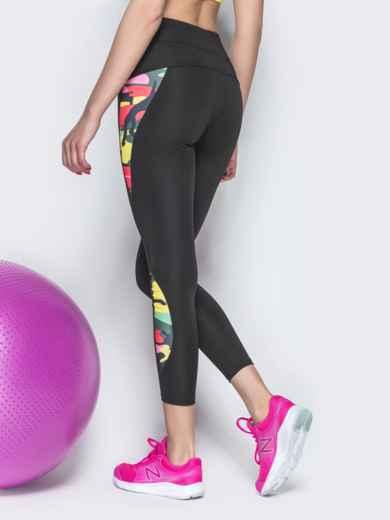 Спортивные лосины с контрастными вставками чёрные - 38791, фото 3 – интернет-магазин Dressa