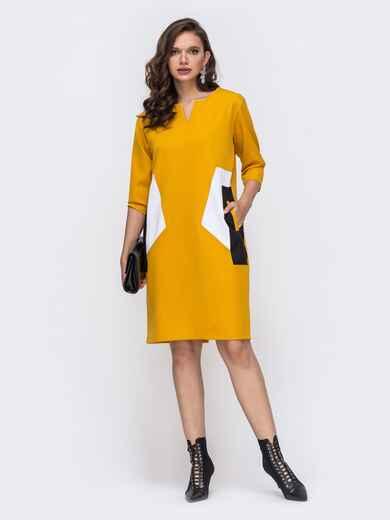Желтое платье батал с контрастными вставками 51465, фото 1