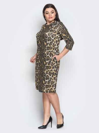 Ангоровое платье с леопардовым принтом коричневое - 18369, фото 2 – интернет-магазин Dressa