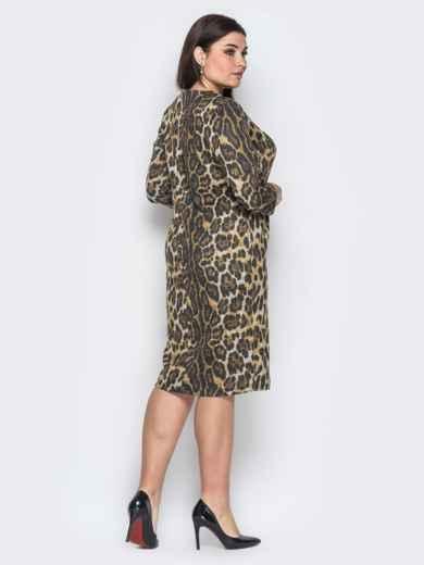 Ангоровое платье с леопардовым принтом коричневое - 18369, фото 3 – интернет-магазин Dressa