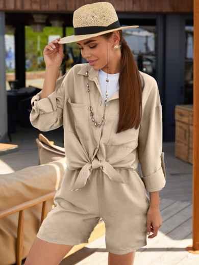 Бежевый костюм из свободной рубашки и шорт 54822, фото 1