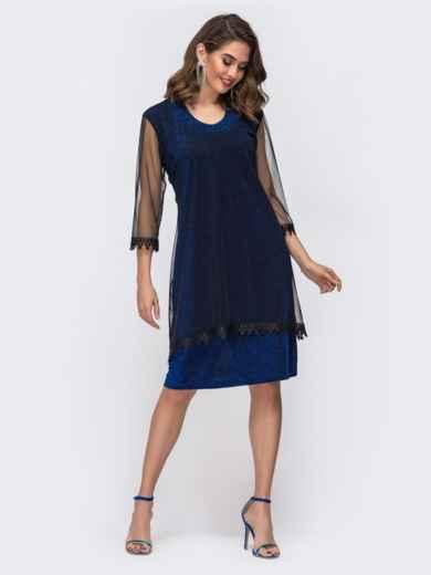 Приталенное платье из люрекса с фатиновым чехлом синее 42868, фото 1