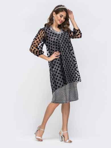 Серое платье из люрекса с фатиновым чехлом в горох 42865, фото 1