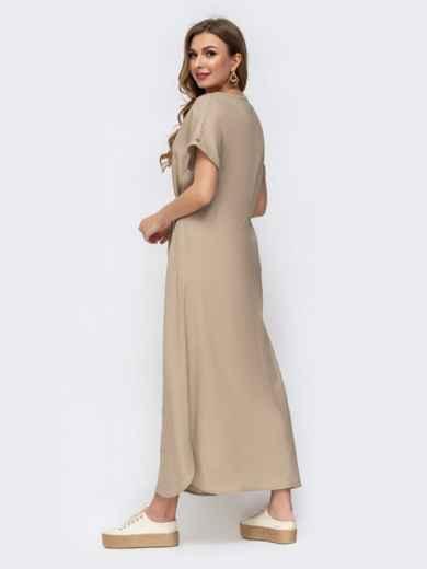 Бежевое платье-макси из льна с вышивкой 46737, фото 2