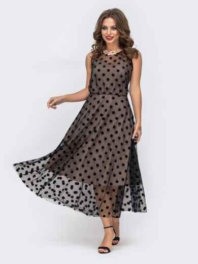 Бежевое платье приталенного кроя из фатина в горох - 43041, фото 2 – интернет-магазин Dressa