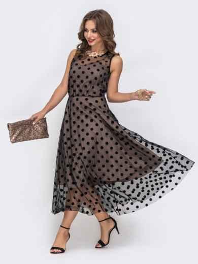 Бежевое платье приталенного кроя из фатина в горох - 43041, фото 3 – интернет-магазин Dressa