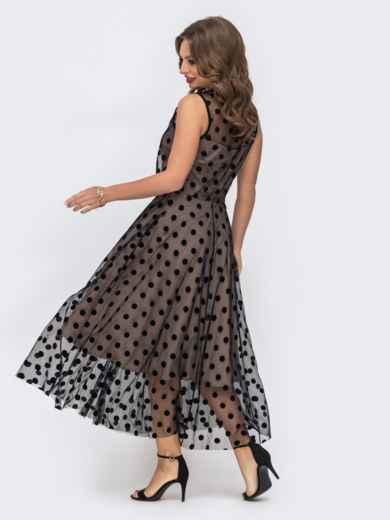 Бежевое платье приталенного кроя из фатина в горох - 43041, фото 4 – интернет-магазин Dressa
