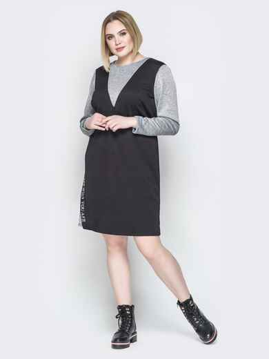 Чёрное платье приталенного кроя с разрезами 19960, фото 2