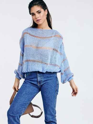 Голубой вязаный свитер свободного кроя в полоску 53046, фото 1
