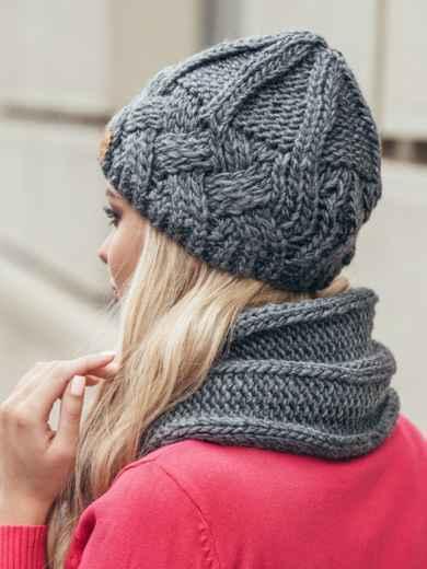 Комплект из шапки и шарфа темно-серый - 15568, фото 3 – интернет-магазин Dressa