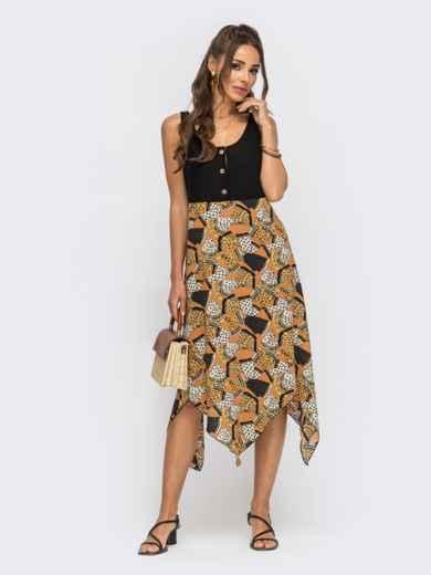 Коричневое платье с принтованным асимметричным низом 53839, фото 1